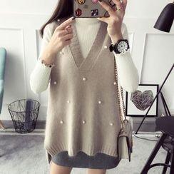 Qimi - Faux Pearl Knit Vest