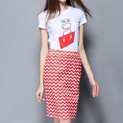 妮佳 - 套装: 短袖印花T恤 + 条纹裙