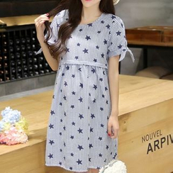 Ceres - Maternity Star Print Short Sleeve Nursing Dress