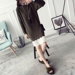 Qimi - Pleated Hem Scallop Trim Sweater Dress