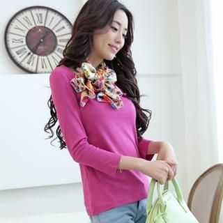 JVL - Long-Sleeve T-Shirt with Floral Scarf