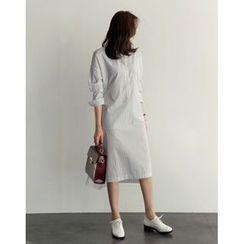 UPTOWNHOLIC - Mandarin-Collar Half-Placket Striped Long Dress