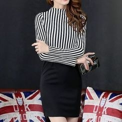 Fashion Street - Mock Neck Striped Long Sleeve Mini Dress