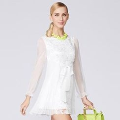 O.SA - Sheer-Sleeve Crochet-Panel Pleated Dress