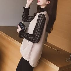 Cocofield - Set: Long-Sleeve Lace Top + Knit Vest