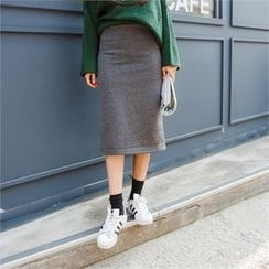 clicknme - Brushed-Fleece Lined Midi Skirt