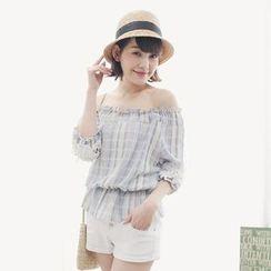Tokyo Fashion - 3/4-Sleeve Off Shoulder Plaid Top