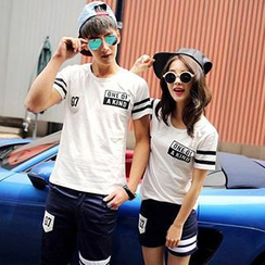 Azure - Short-Sleeved Print Couple T-Shirt