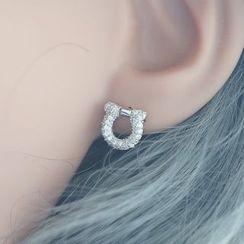 Love Generation - Rhinestone Horseshoe Sterling Silver Earrings