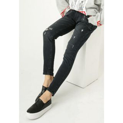 REDOPIN - Zip-Trim Distressed Jeans