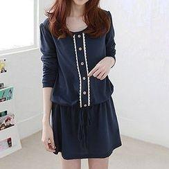 Fashion Street - Buttoned Long Sleeve Drawstring Waist Dress