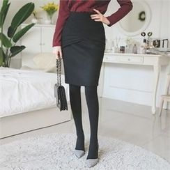 ode' - Layered Trim Pencil Skirt