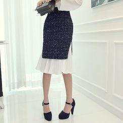 DABAGIRL - Chiffon-Layered Hem Tweed Skirt