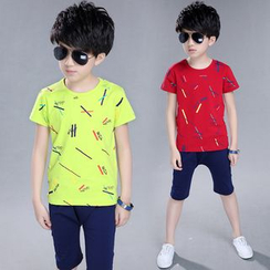 Pegasus - Kids Set: Printed Short Sleeve T-Shirt + Band Waist Shorts