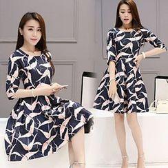 Ashlee - Printed 3/4-Sleeve Dress