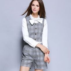 Rosesong - Set: Tie-Neck Long-Sleeve Shirt + Check Vest + Shorts