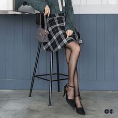 OrangeBear - Plaid Woolen Mini Skirt