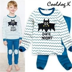 WALTON kids - Boys Pajama Set: Printed Lettering Top + Knee-Patch Pants