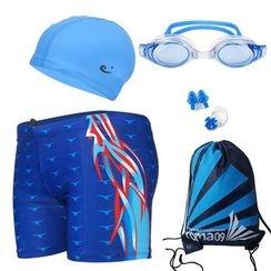 Aqua Wave - 套装: 游泳短裤 + 风镜 + 泳帽 + 抽绳手提包