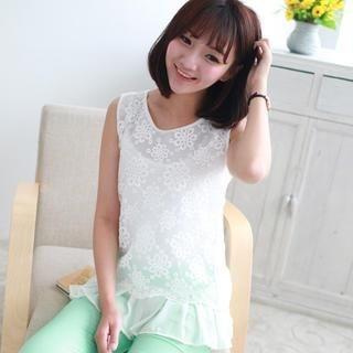 Ando Store - Chiffon-Hem Embroidered Lace Sleeveless Top