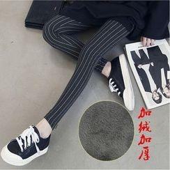 Viana Smile - Maternity Pinstriped Fleece-Lined Leggings