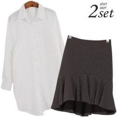 Ho Shop - Set: Drop-Shoulder Shirt + Dotted Ruffle-Hem Skirt