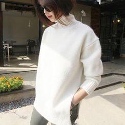 Emeline - High Neck Slit-Side Sweater