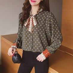 Cocofield - Printed Long Sleeve Chiffon Blouse