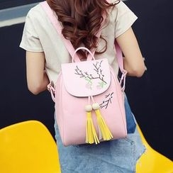 Merlain - Floral Embroidered Faux Leather Backpack with Tassel