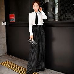 Dabuwawa - High-Waist Striped Wide-Leg Pants