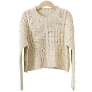 PEPER - Crew-Neck Cropped Knit Top