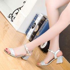 One100 - Rhinestone Chunky-Heel Sandals