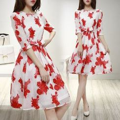 Ashlee - Floral Print Elbow-Sleeve Organza Dress