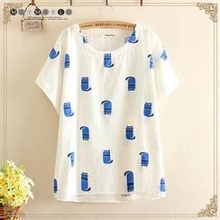 Maymaylu Dreams - Cat Printed Short-Sleeve T-shirt