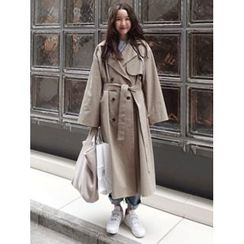 maybe-baby - Hooded Double-Breasted Trench Coat