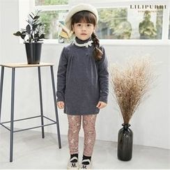 LILIPURRI - Girls Set: Mock-Neck Brushed Fleece Top + Floral Print Leggings