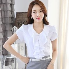 In the Mood - Frill Trim Short-Sleeve Blouse