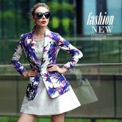 Ozipan - Single-Button Floral Blazer
