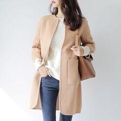 WITH IPUN - Wool Blend 3/4-Sleeve Coat