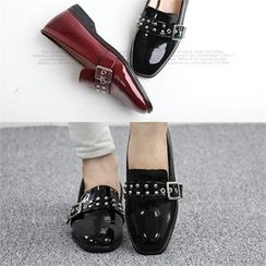 Reneve - Stud Buckled Patent Loafers