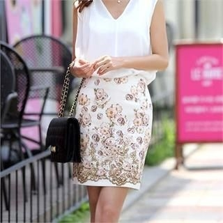 COCOAVENUE - Floral-Pattern Pencil Skirt