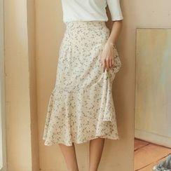 Porta - Printed Flounced-Hem Midi A-Line Skirt