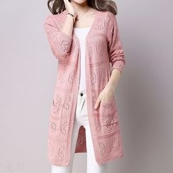 Donnae - Pointelle Knit Long Cardigan