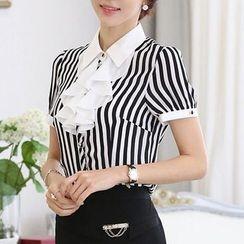 Caroe - Ruffle Front Short-Sleeve Striped Shirt