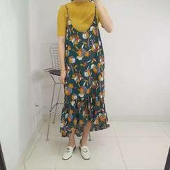 MATO - Set: Short Sleeve T-Shirt + Floral Print Spaghetti Strap Dress