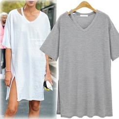 Coronini - Short-Sleeve Cut Out T-Shirt Dress