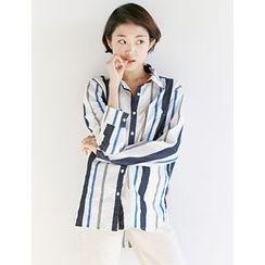 FROMBEGINNING - Dip-Back Striped Shirt