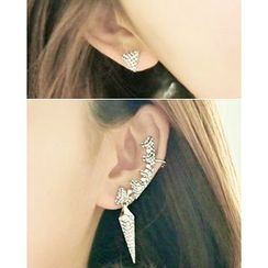 Miss21 Korea - Set: Rhinestone Earring + Ear Cuff (Single)