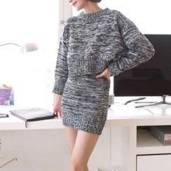 stylebyyam - Set: Cropped Knit Top + Knit Skirt