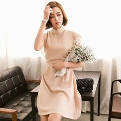Eleganza - Plain Cap Sleeve Chiffon Dress